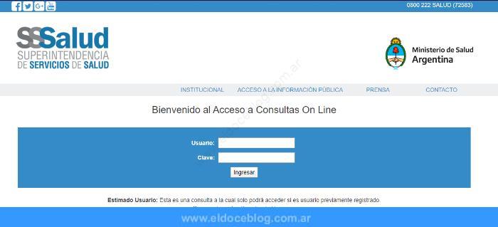 Superintendencia de Servicios de Salud • Consultas en línea
